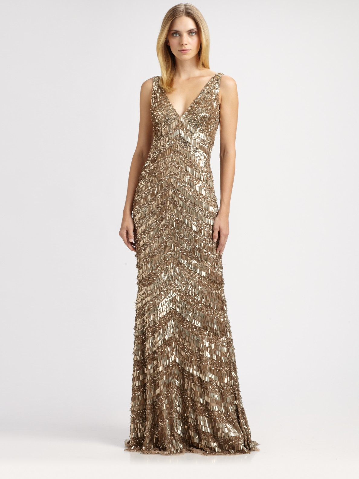 Lyst Theia Art Deco Fringed Gown In Metallic