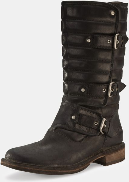 leather black ugg boots
