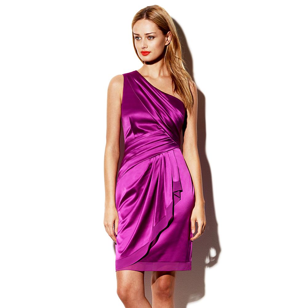 Purple Satin One Shoulder Dress