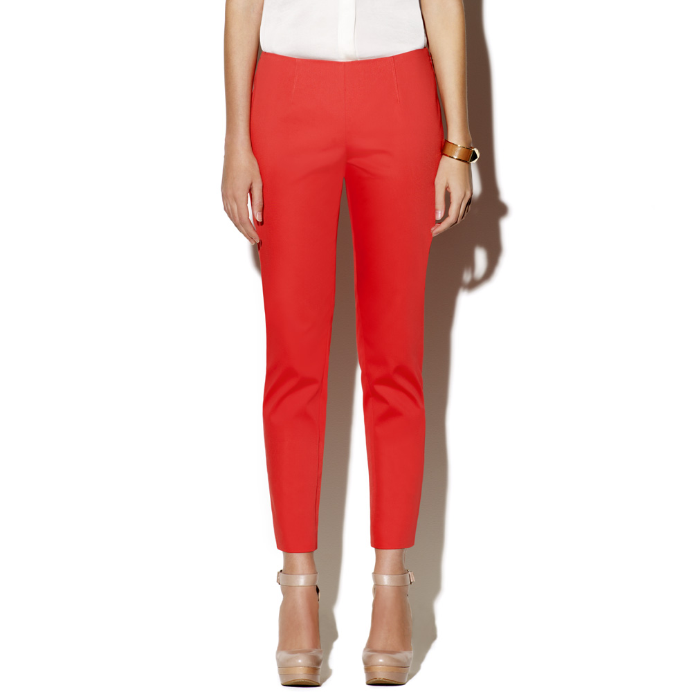 Vince Camuto Side Zip Skinny Pant Salmon In Red Salmon