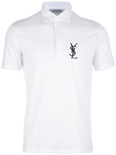 9311f9bb181006 Saint Laurent Logo Polo Shirt in White for Men - Lyst