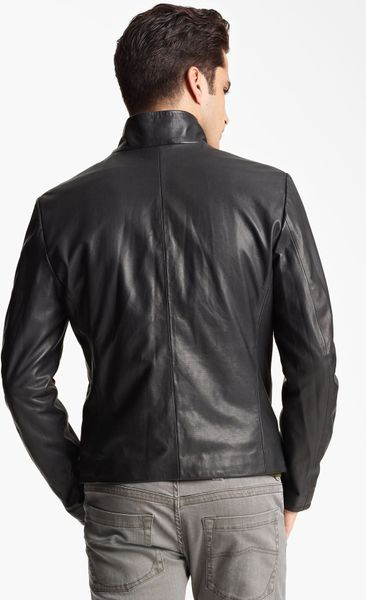 Armani Perforated Leather Jacket in Black for Men (solid black) | Lyst