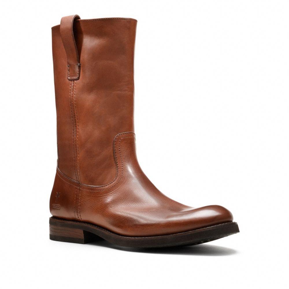coach frye for coach jackson pull on boot in brown for
