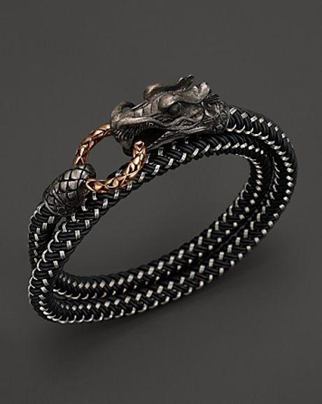 John Hardy Men S Naga Double Wrap Dragon Cord Bracelet In