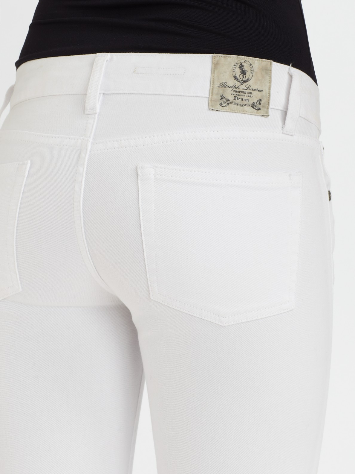 Ralph lauren blue label Stretch Denim Bootcut Jeans in White | Lyst