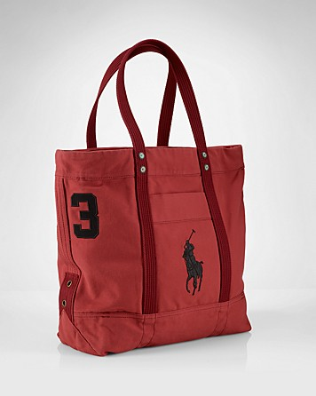 9c49e0ac1a Lyst - Ralph Lauren Collection Accessories Canvas Pony Tote in Red ...