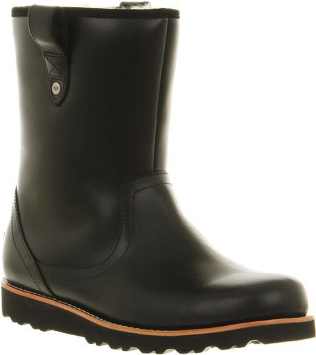 ugg stoneman calf boot black leather in black for lyst