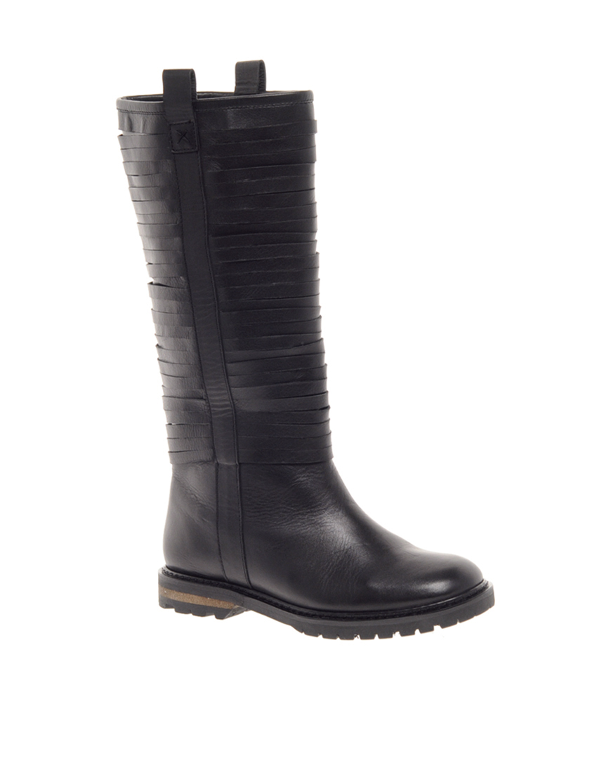 asos charge leather calf length biker boots in black lyst