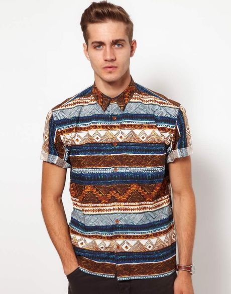 Asos shirt with aztec print in brown for men blue lyst