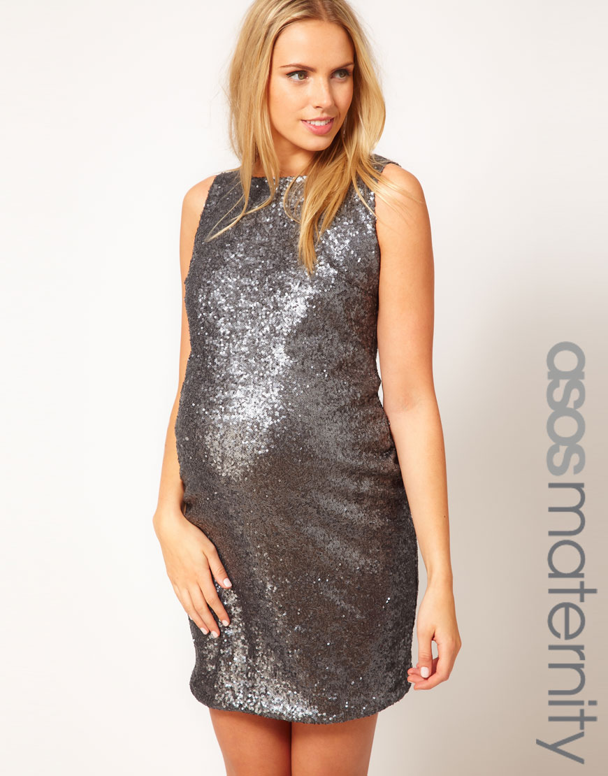 Asos Sequin Dress in Gray | Lyst