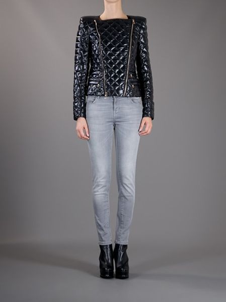 Balmain Quilted Shell Jacket In Black Lyst