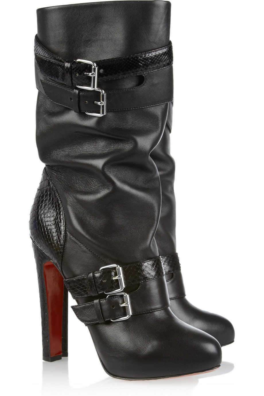 303c503fc74e Shoeniverse  Loubi Bike pull on heeled biker boots by Christian ...