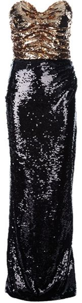 Dolce & Gabbana Sequin Strapless Dress in Gold (black)