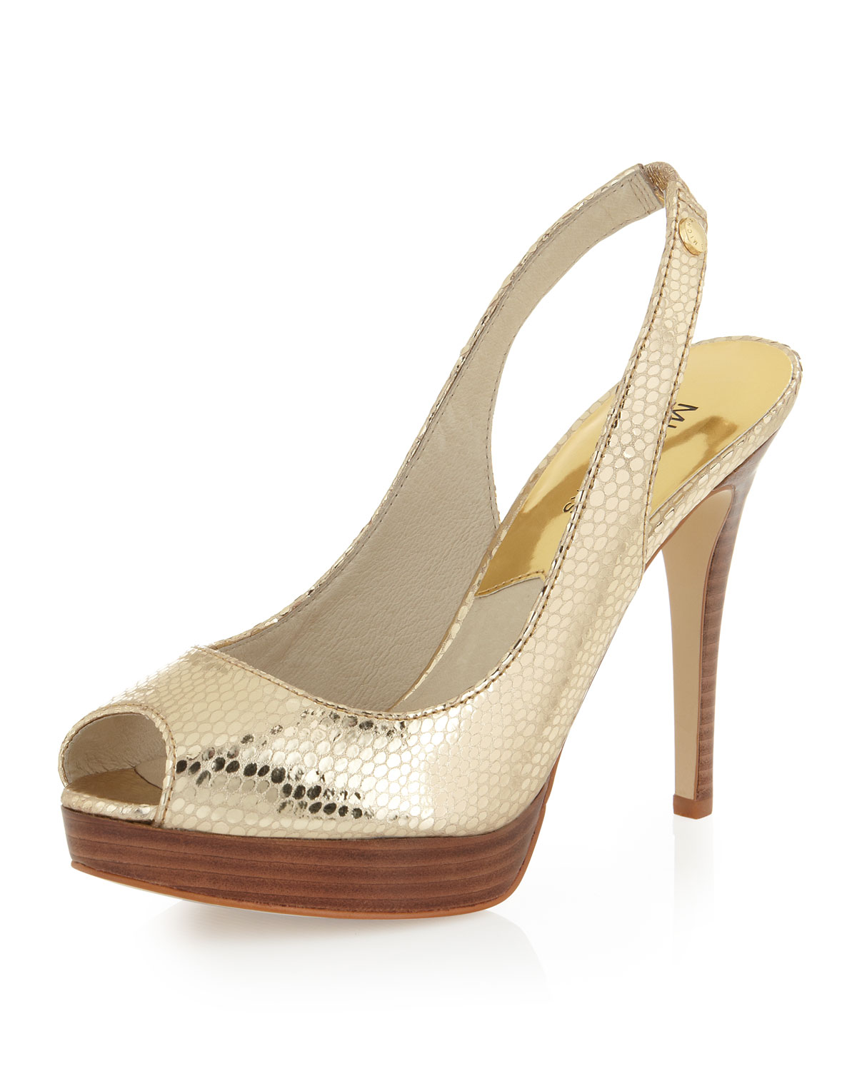 michael michael kors york metallic snakeembossed slingback pump in gold pale gold lyst. Black Bedroom Furniture Sets. Home Design Ideas