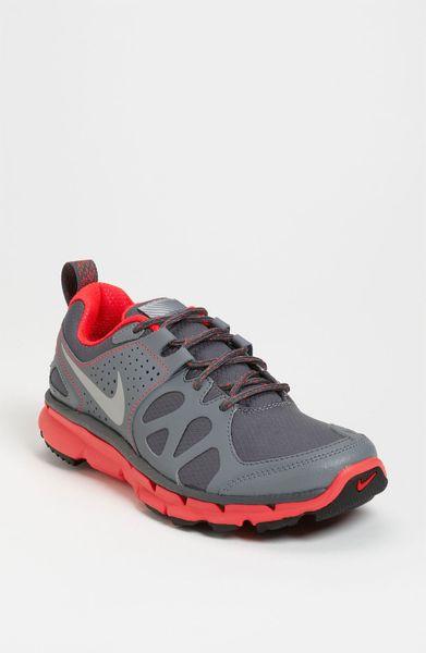 Nike Flex Shield Trail Running Shoe in Gray (dark grey/ bright crimson