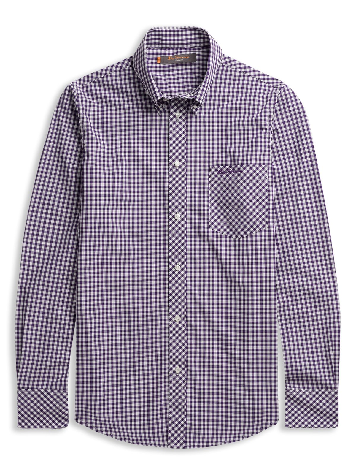 Ben Sherman Longsleeve Gingham Shirt In Purple For Men