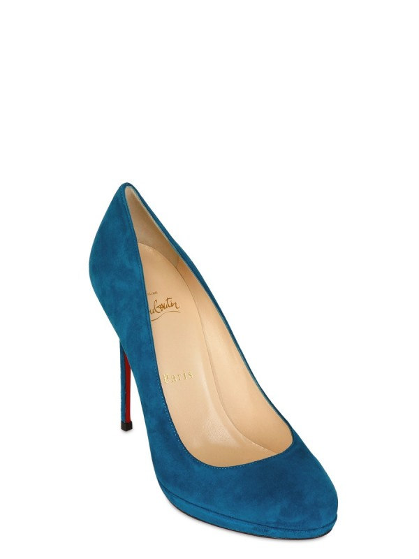 christian louboutin peep-toe pumps Turquoise, blue and black suede ...