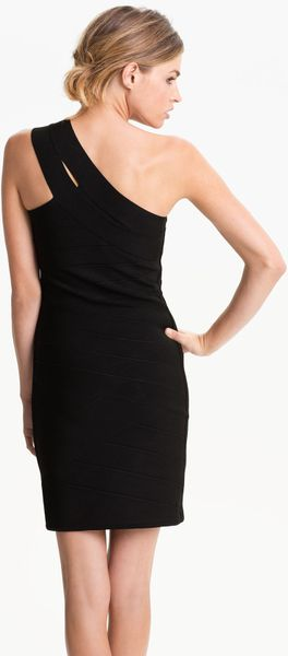 Js Collections Asymmetrical Strap Bandage Dress In Black