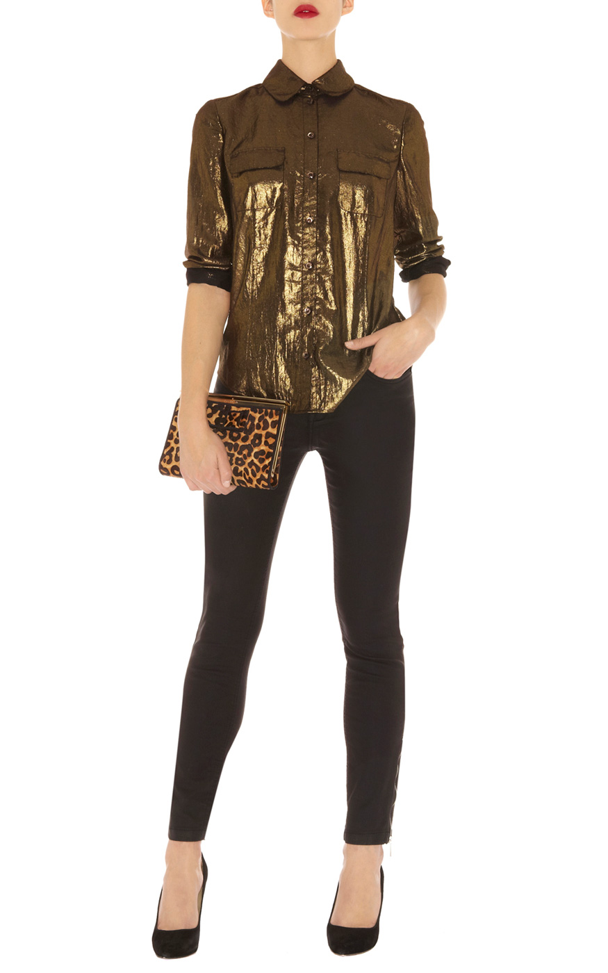 07f2373b17ff Karen Millen Bronze Metallic Shirt in Yellow - Lyst