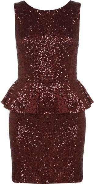 Topshop Sequin Peplum Dress in Red (oxblood)