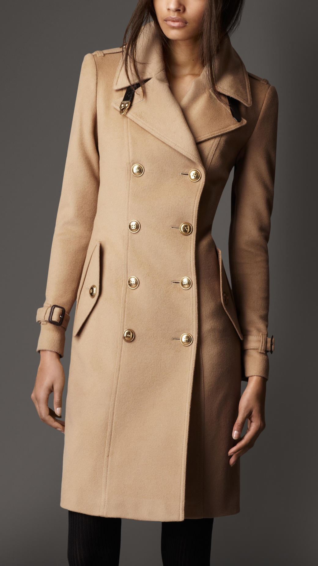 Lyst Burberry Leather Detail Wool Cashmere Coat In Natural