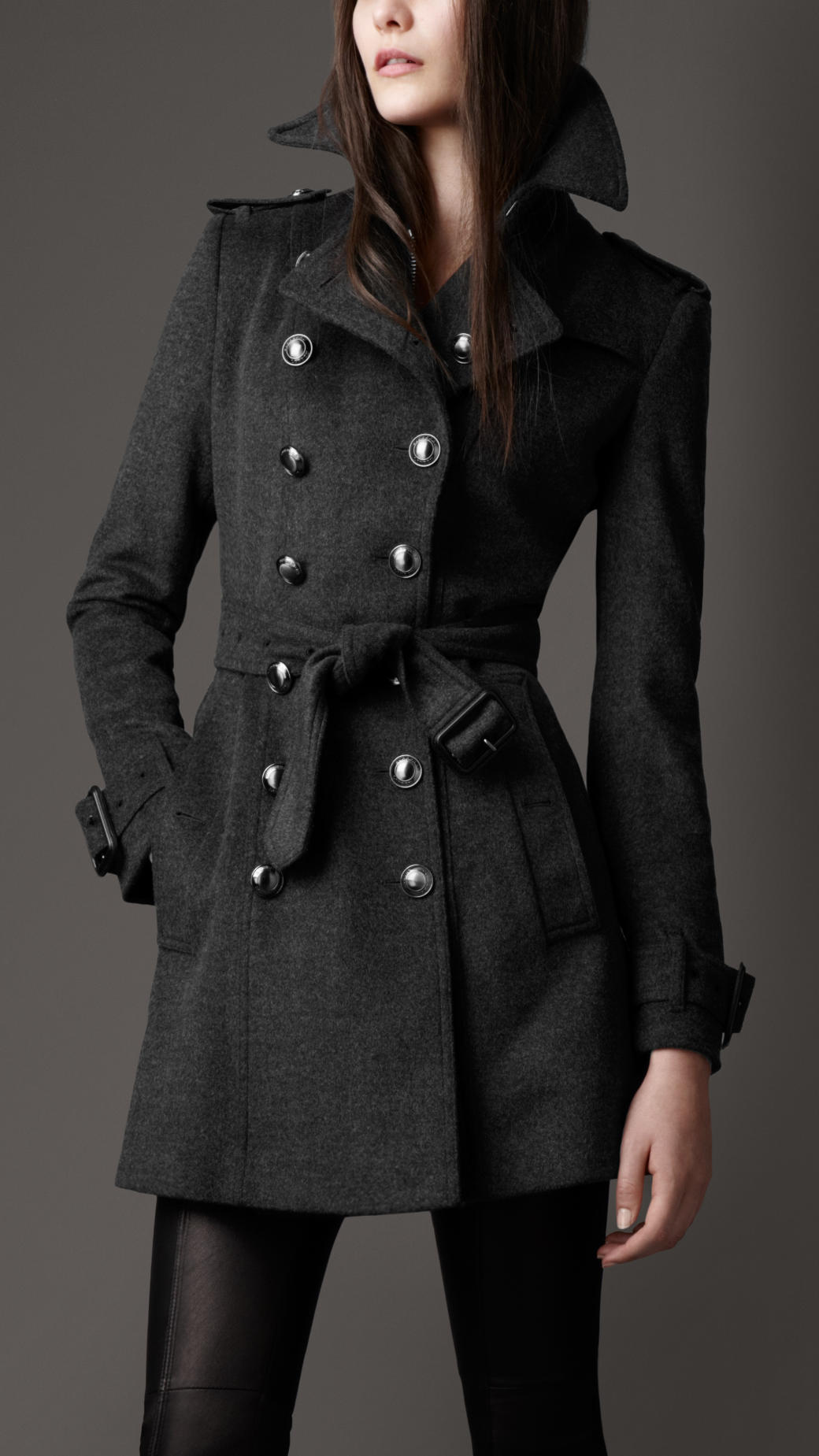 Burberry Mid Length Wool Cashmere Trench Coat in Gray | Lyst