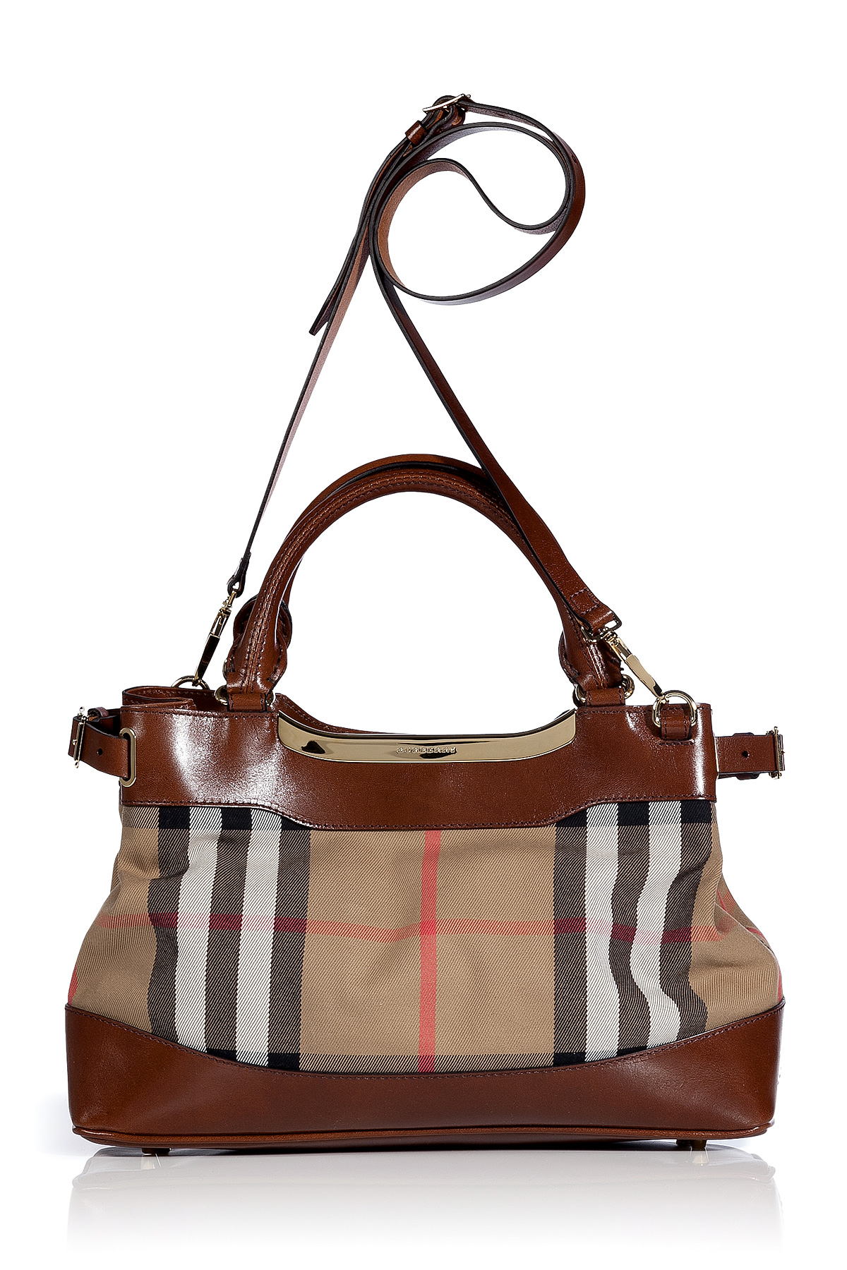Lyst - Burberry Dark Tan Bridle House Check Small Hepburn Tote in Brown 39fe37be14