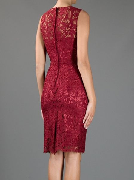 Dolce Amp Gabbana Lace Detail Sleeveless Dress In Red Lyst