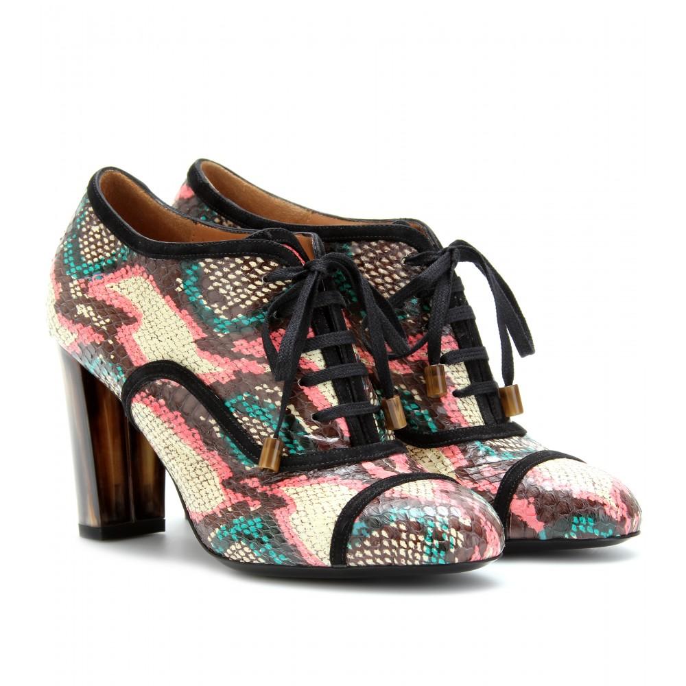 DRIES VAN NOTEN Brown Snake Skin Shoe Boots