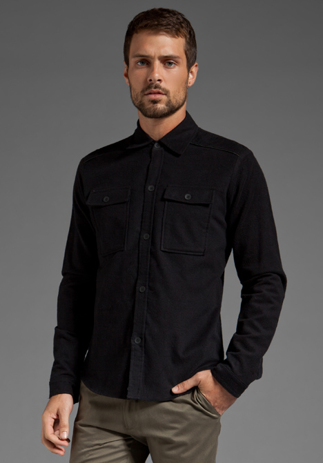 Field scout Flannel Shirt Jacket W Leather Trim in Black for Men ...