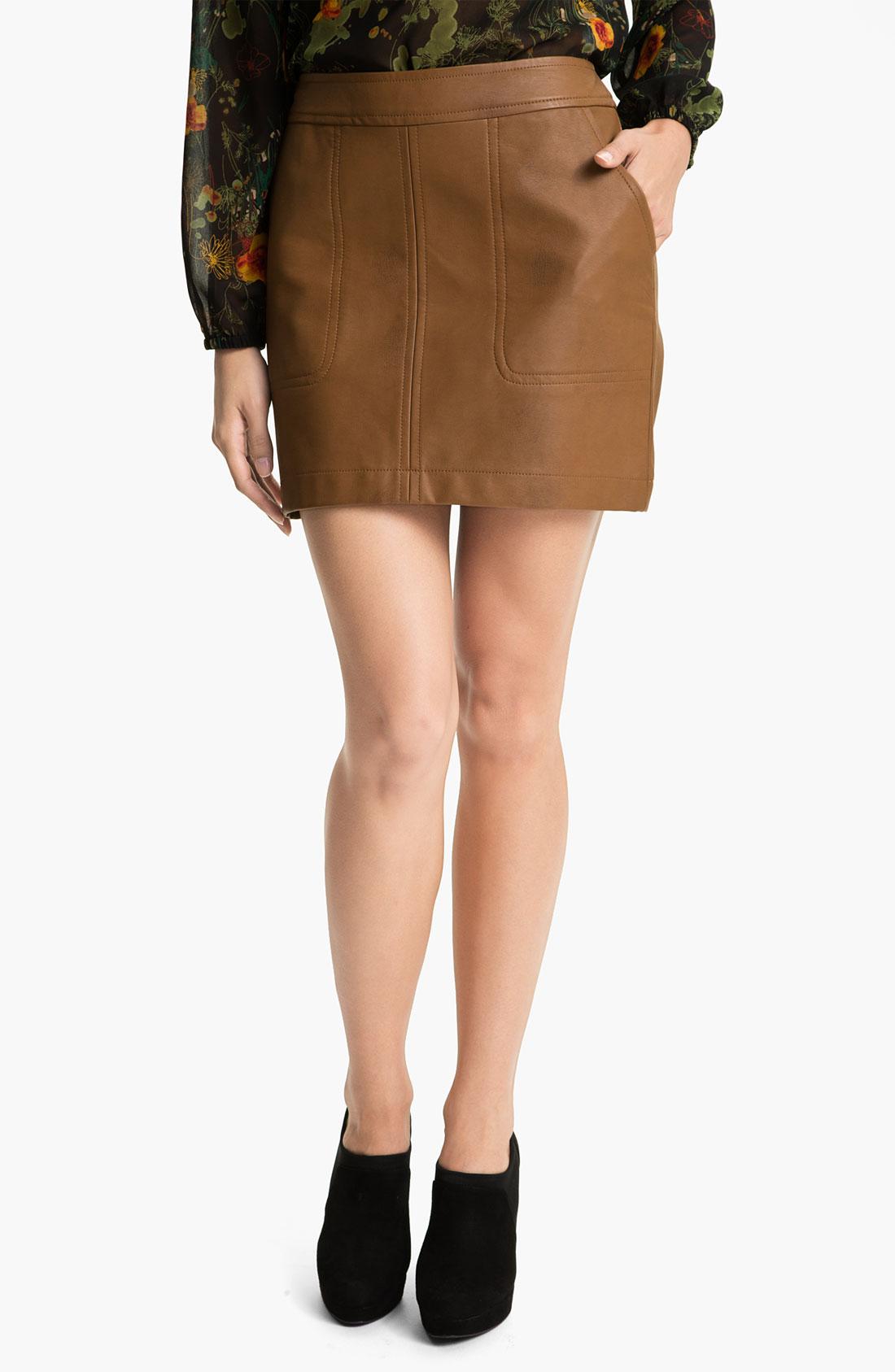 kensie faux leather skirt in brown cinnamon lyst