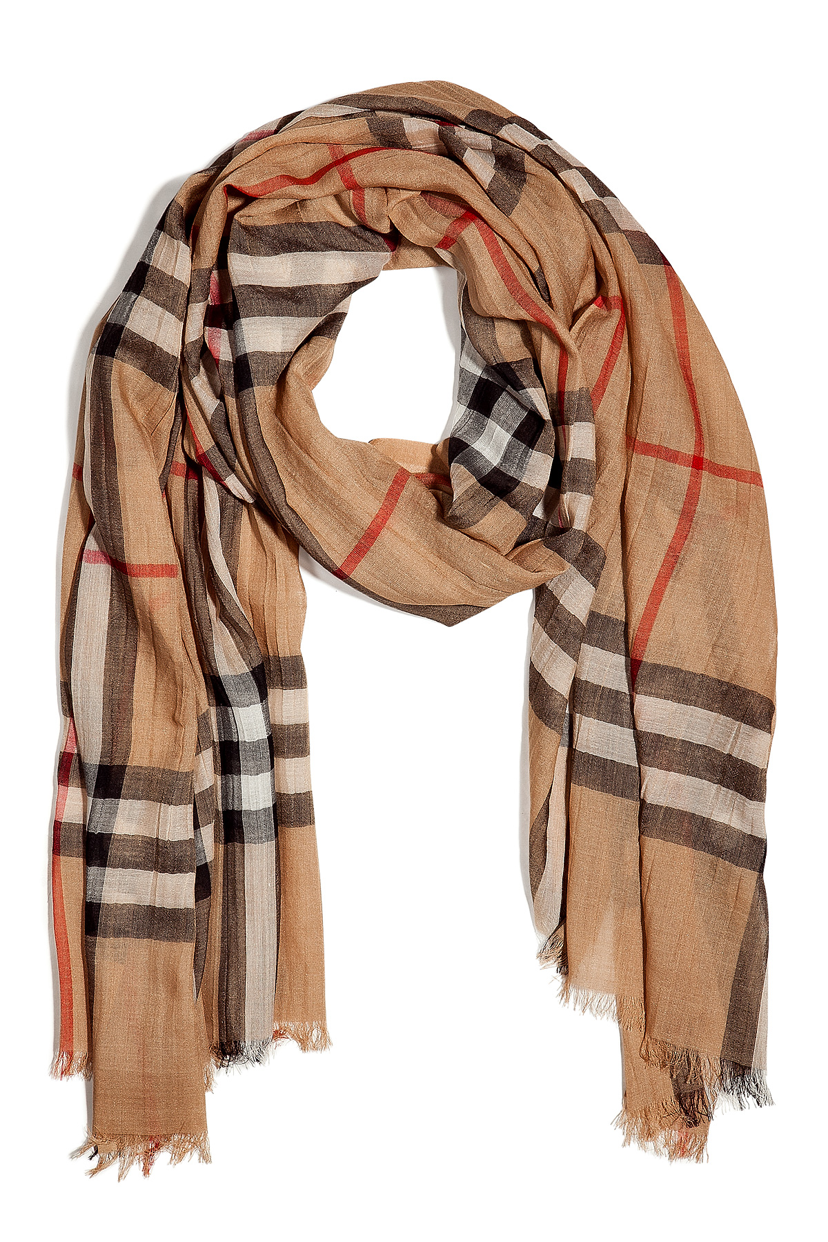 burberry camel giant check woolsilk gauze scarf in natural lyst. Black Bedroom Furniture Sets. Home Design Ideas