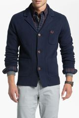 Fred Perry Jacket Cardigan in Blue for Men (blue granite) - Lyst