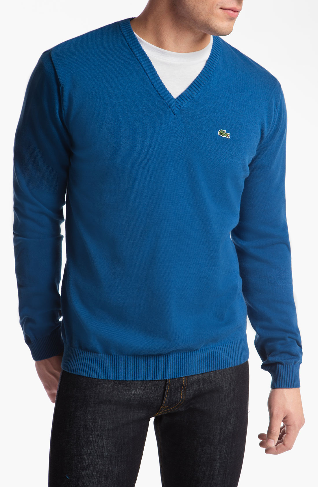 lacoste vneck sweater in blue for men epic blue white lyst. Black Bedroom Furniture Sets. Home Design Ideas