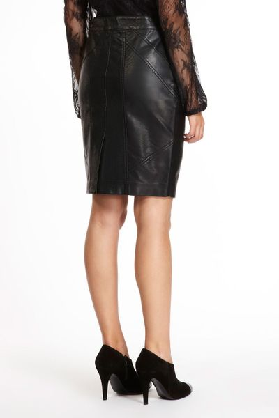 oasis faux leather zip pencil skirt in black lyst