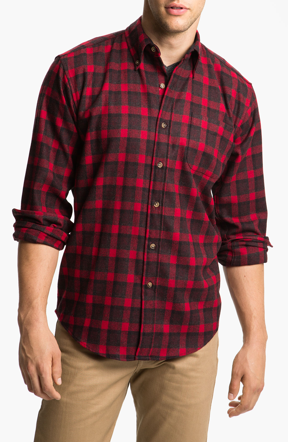 Pendleton Fireside Wool Plaid Flannel Shirt In Red For Men