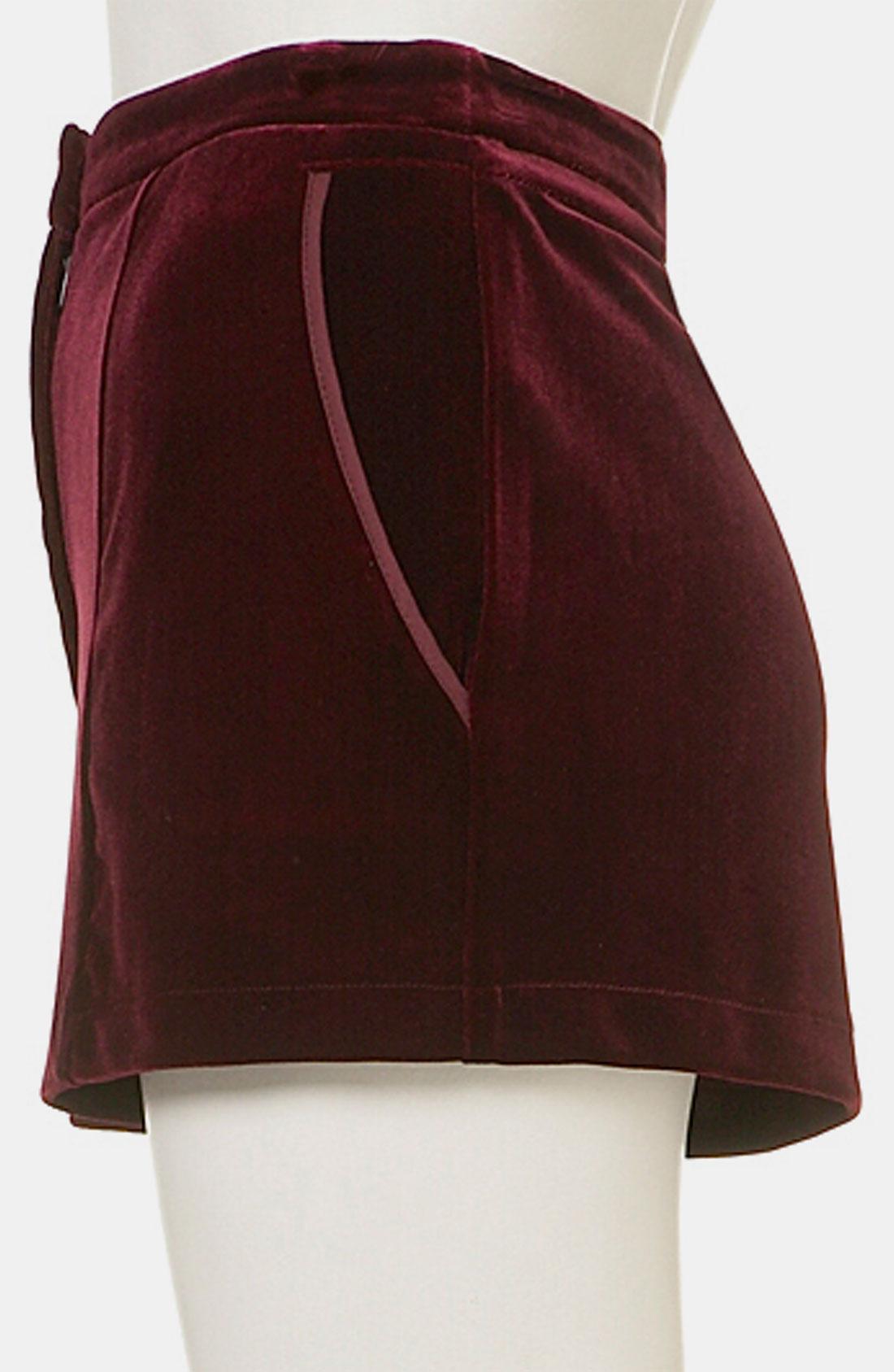 Topshop Velvet Shorts In Purple Burgundy Lyst