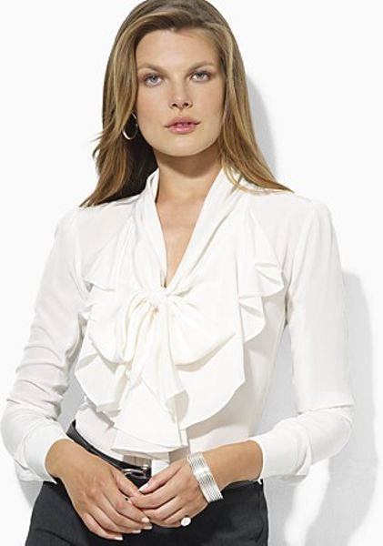 White Long Sleeve Blouse With Ruffles 72