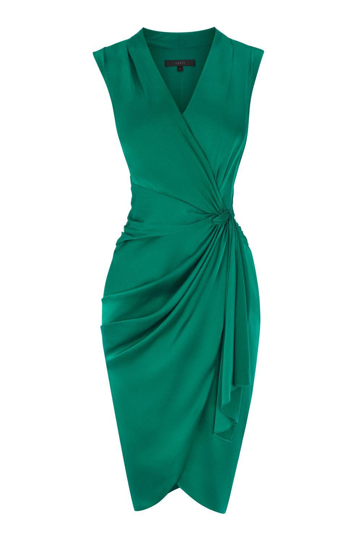 Coast Lavinia Gathered-Satin Dress in Green - Lyst