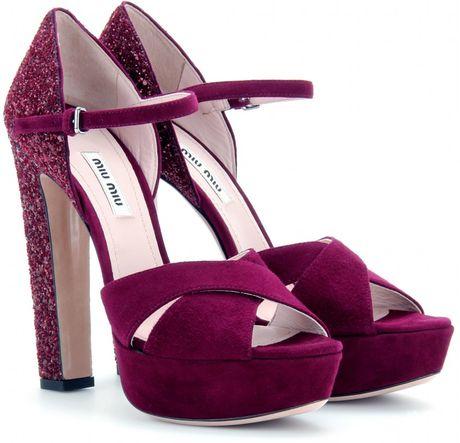 Miu Miu Suede Sandals with Glitter Heel in Purple (bordeaux)