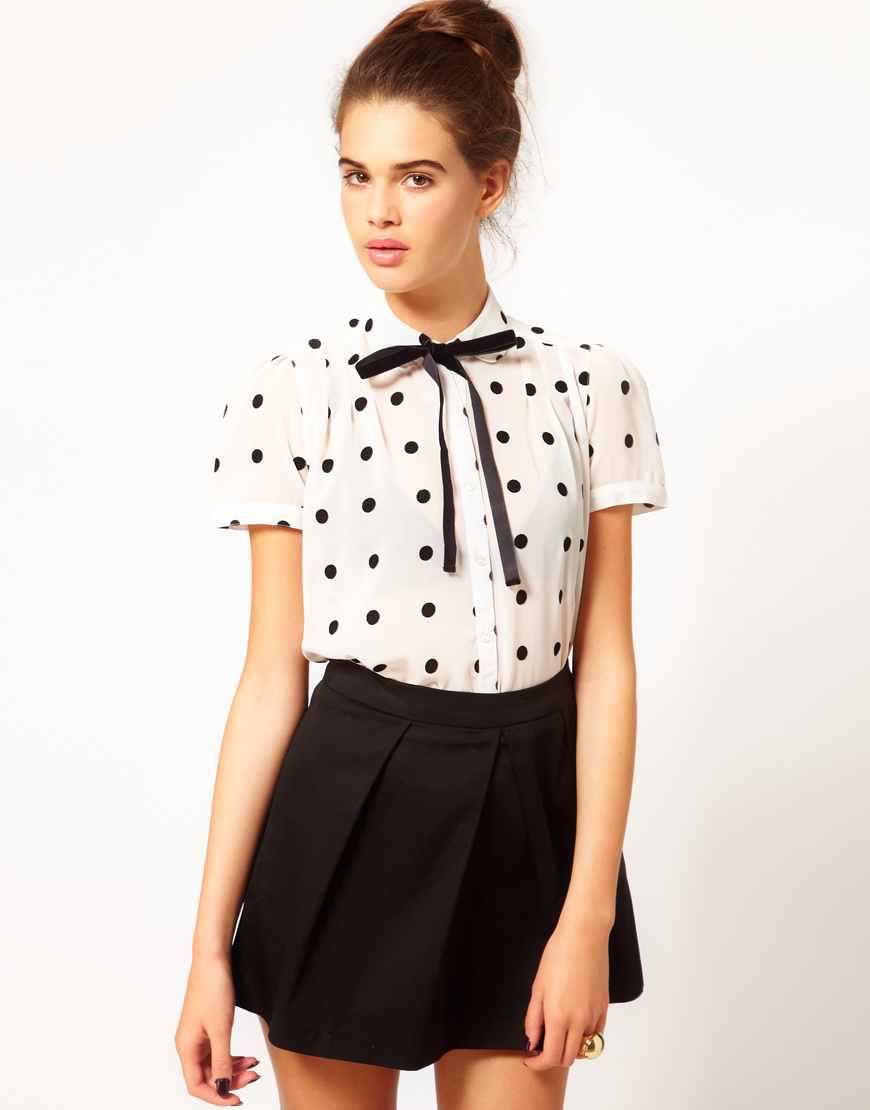 River Island Short Sleeve Blouse With Bow Tie