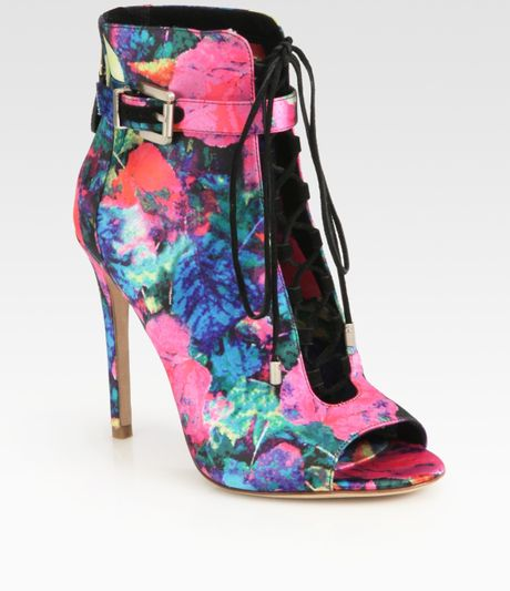 B Brian Atwood Lindford Satin Laceup Ankle Boots in Multicolor (multi)