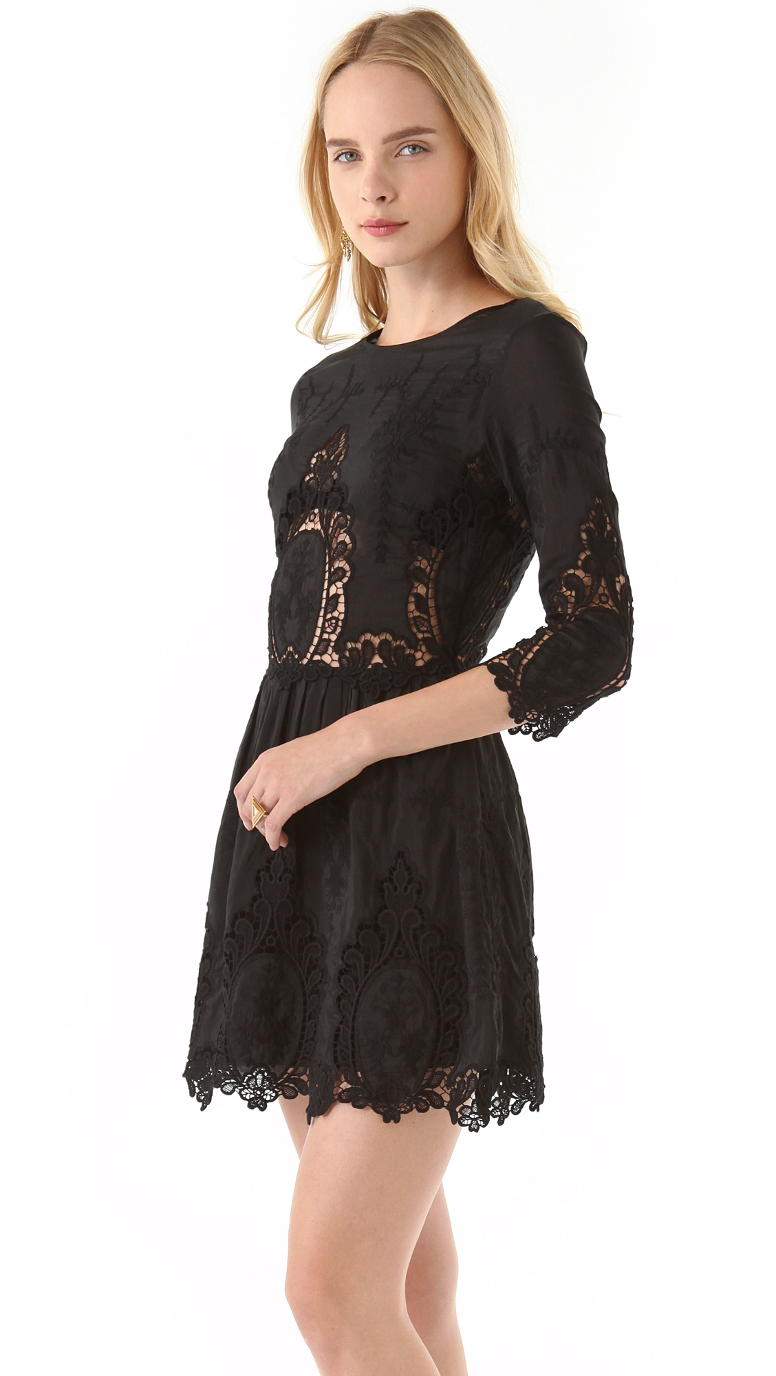 dolce vita valentina dress with lace in black lyst. Black Bedroom Furniture Sets. Home Design Ideas