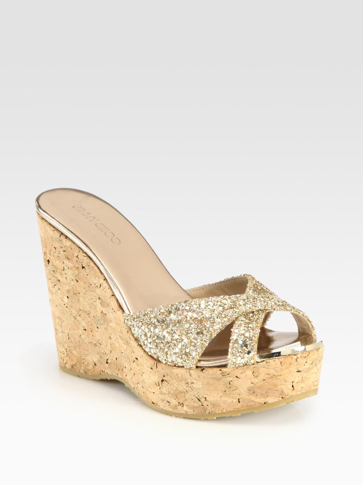 555b16e9de2 Lyst - Jimmy Choo Perfume Glitter Cork Wedge Sandals in Natural
