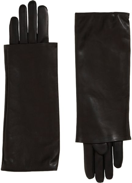 Nina Ricci Long Layered Cuff Gloves in Black (noir)