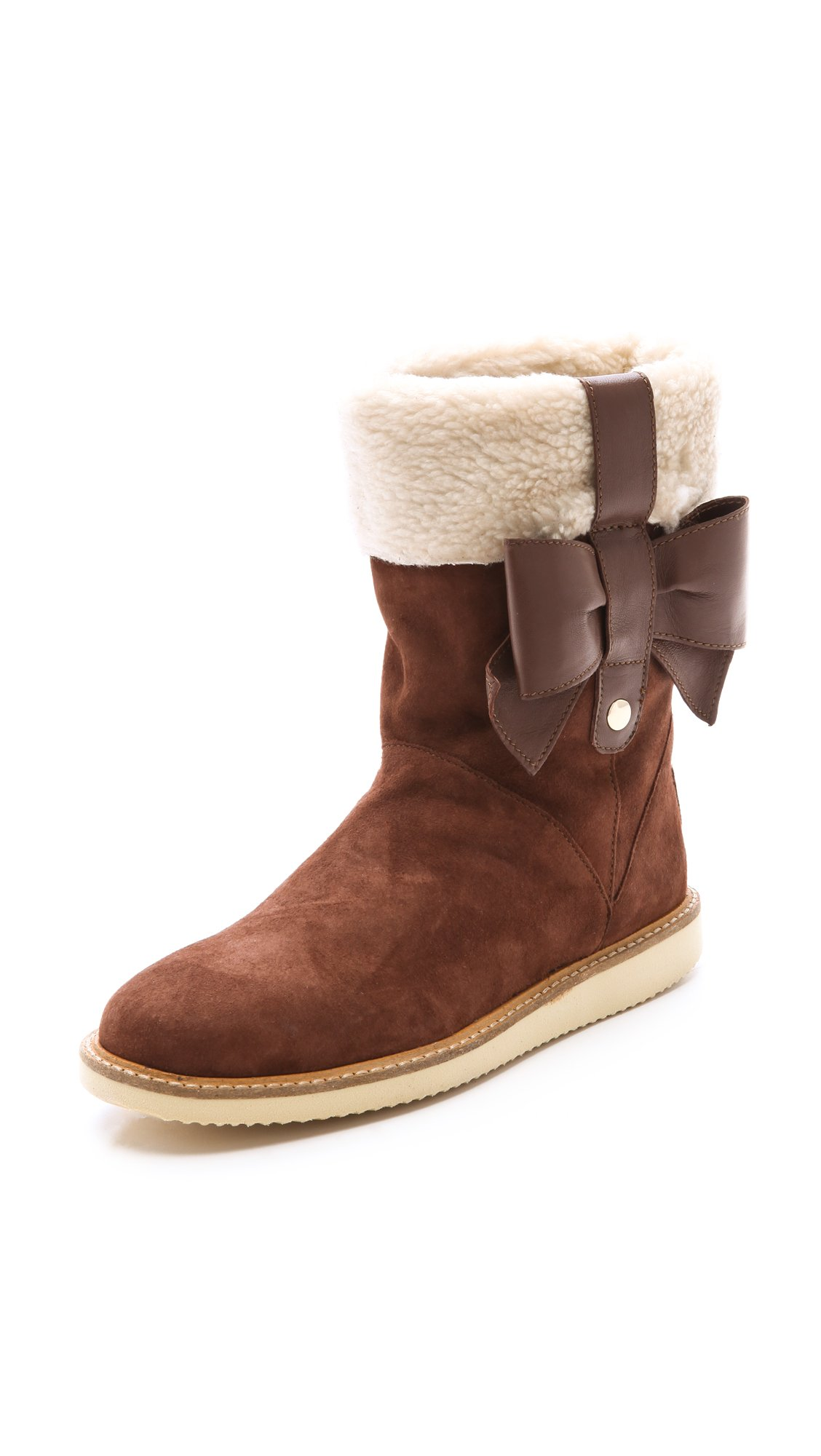 Lyst Red Valentino Sherpa Boots In Brown