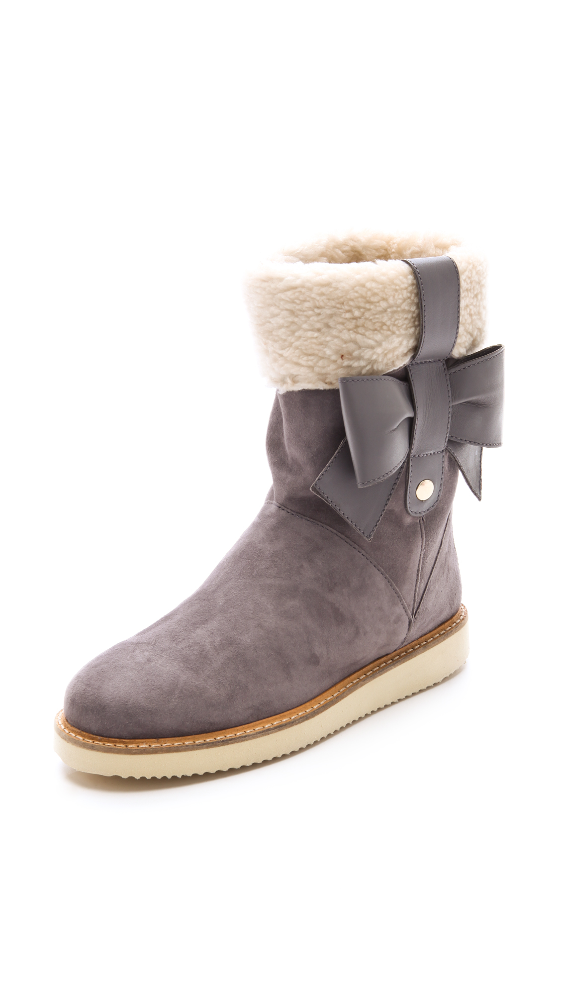 531427eb1 Lyst - RED Valentino Sherpa Boots in Gray