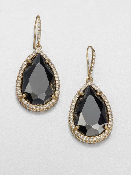 abs by allen schwartz faceted drop earrings in black lyst