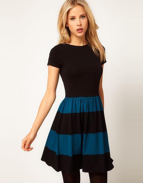 asos skater dress with stripe skirt in blue blueblack lyst