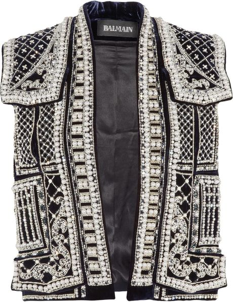 Balmain Embellished Velvet Vest in Silver (marine)